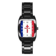 Flag Of Free France (1940 1944) Stainless Steel Barrel Watch