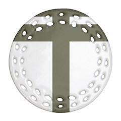 Cross Of Loraine Round Filigree Ornament (two Sides)