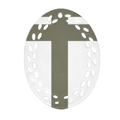 Cross Of Loraine Oval Filigree Ornament (two Sides)