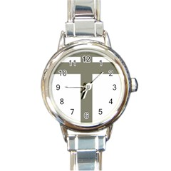 Cross Of Lorraine  Round Italian Charm Watch