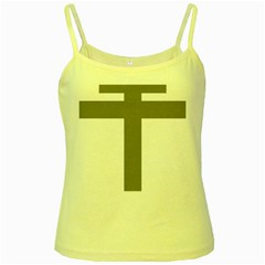 Cross Of Lorraine  Yellow Spaghetti Tank
