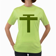 Cross Of Lorraine  Women s Green T Shirt