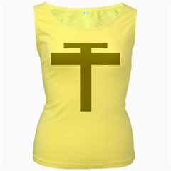 Cross Of Lorraine  Women s Yellow Tank Top