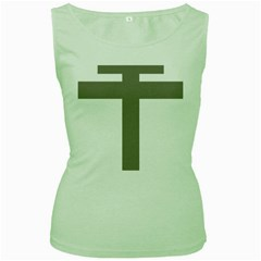 Cross Of Lorraine  Women s Green Tank Top
