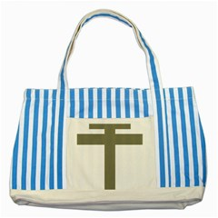 Cross Of Lorraine  Striped Blue Tote Bag