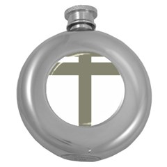 Cross Of Lorraine  Round Hip Flask (5 Oz)