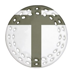 Cross of Lorraine  Round Filigree Ornament (Two Sides)
