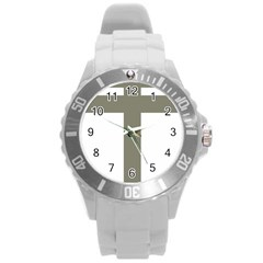 Cross Of Lorraine  Round Plastic Sport Watch (l)