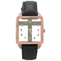 Cross of Lorraine  Rose Gold Leather Watch