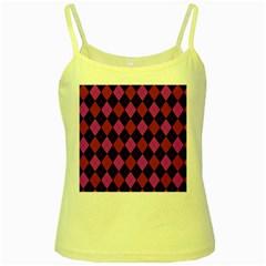 Plaid Pattern Yellow Spaghetti Tank