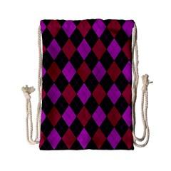 Plaid pattern Drawstring Bag (Small)