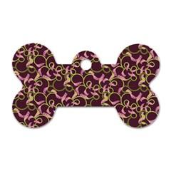 Plaid Pattern Dog Tag Bone (one Side)