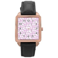 Plaid pattern Rose Gold Leather Watch