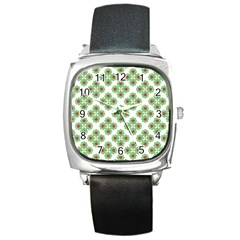 Floral Collage Pattern Square Metal Watch