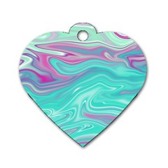 Iridescent Marble Pattern Dog Tag Heart (One Side)