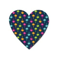 Funny Palm Tree Pattern Heart Magnet