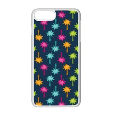 Funny Palm Tree Pattern Apple Iphone 7 Plus White Seamless Case
