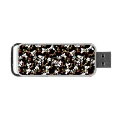 Dark Chinoiserie Floral Collage Pattern Portable USB Flash (One Side)