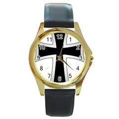 Cross of the Teutonic Order Round Gold Metal Watch
