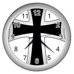 Cross of the Teutonic Order Wall Clocks (Silver)