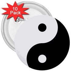 Yin & Yang 3  Buttons (10 Pack)