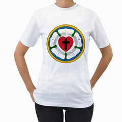 Luther Rose  Women s T-Shirt (White) (Two Sided)