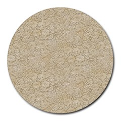 Old Floral Crochet Lace Pattern beige bleached Round Mousepads