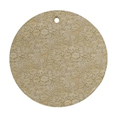 Old Floral Crochet Lace Pattern beige bleached Ornament (Round)