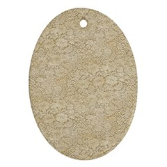 Old Floral Crochet Lace Pattern beige bleached Ornament (Oval)