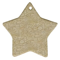 Old Floral Crochet Lace Pattern beige bleached Ornament (Star)