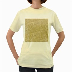Old Floral Crochet Lace Pattern beige bleached Women s Yellow T-Shirt