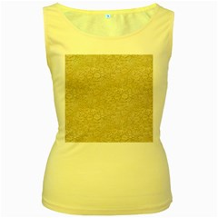 Old Floral Crochet Lace Pattern beige bleached Women s Yellow Tank Top