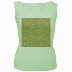 Old Floral Crochet Lace Pattern beige bleached Women s Green Tank Top