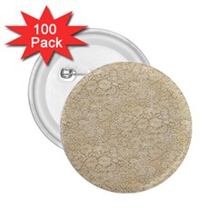 Old Floral Crochet Lace Pattern beige bleached 2.25  Buttons (100 pack)