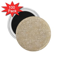 Old Floral Crochet Lace Pattern beige bleached 2.25  Magnets (100 pack)