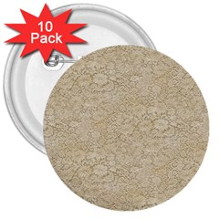 Old Floral Crochet Lace Pattern beige bleached 3  Buttons (10 pack)