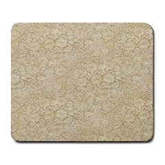 Old Floral Crochet Lace Pattern beige bleached Large Mousepads