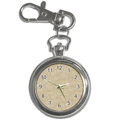 Old Floral Crochet Lace Pattern beige bleached Key Chain Watches