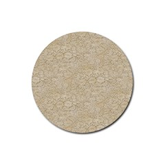 Old Floral Crochet Lace Pattern beige bleached Rubber Coaster (Round)