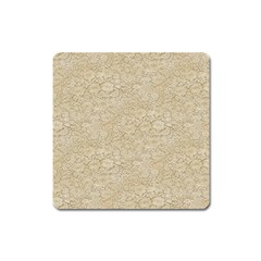 Old Floral Crochet Lace Pattern beige bleached Square Magnet