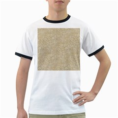 Old Floral Crochet Lace Pattern beige bleached Ringer T-Shirts