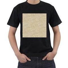 Old Floral Crochet Lace Pattern beige bleached Men s T-Shirt (Black) (Two Sided)