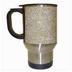 Old Floral Crochet Lace Pattern beige bleached Travel Mugs (White) Left