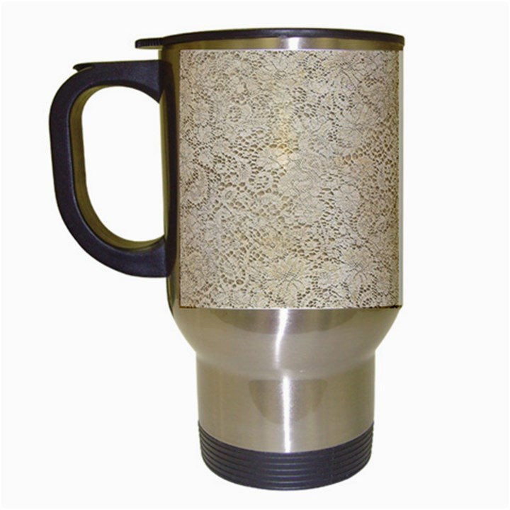Old Floral Crochet Lace Pattern beige bleached Travel Mugs (White)