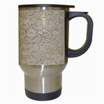 Old Floral Crochet Lace Pattern beige bleached Travel Mugs (White) Right
