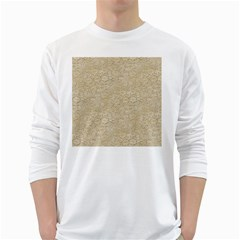 Old Floral Crochet Lace Pattern beige bleached White Long Sleeve T-Shirts