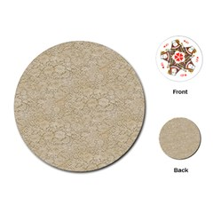 Old Floral Crochet Lace Pattern beige bleached Playing Cards (Round)