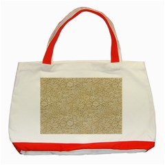 Old Floral Crochet Lace Pattern beige bleached Classic Tote Bag (Red)