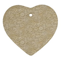 Old Floral Crochet Lace Pattern beige bleached Heart Ornament (Two Sides)