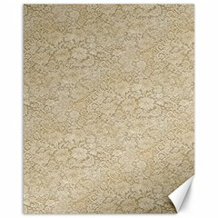 Old Floral Crochet Lace Pattern beige bleached Canvas 16  x 20